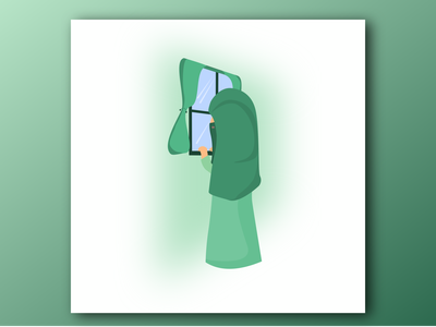 Menunggu illustration flat design vector melamun menunggu muslimah akhwat