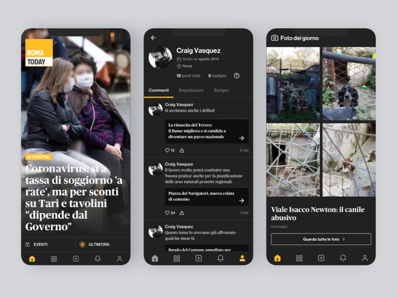 RomaToday - Dark News design profile app design ui ios news dark theme dark ui dark mode dark app