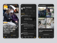 RomaToday - Dark News design profile app design ui ios news dark theme dark ui dark mode dark app
