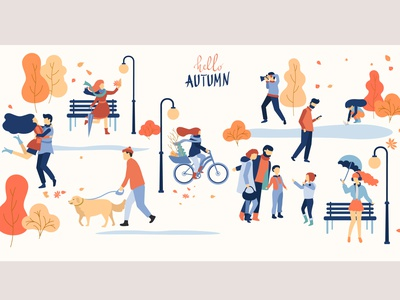 Hello, Autumn design flat dribbble vector autumn mood illustration people children autumn