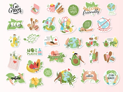 Eco-friendly stickers nature set of stickers set design illustration vector flat dribbble stickers sticker zero waste sticker pack