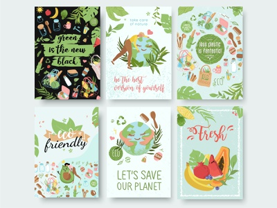 Eco friendly posters, zero waste, motivational quotes and phrase postcards