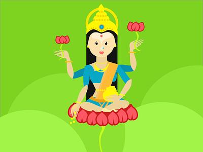 Laxmi Goddess illustration hindu god