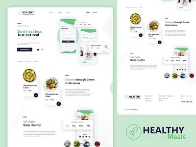 Healthy Meals - Diet Planner Campany Landing Page Design webdesign ecommerce design meal planner food website design web ux ui page design landing page design healthcare health design branding