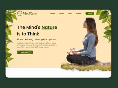 Meditation Trainer - Web Page Banner Ui Design landing page meditation nature dribbble 2021 latest top design trendy design trends trending web web design ux dribbble 2020 design trends ui design uidesign minimal designer design ui