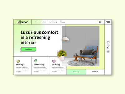 Indecor - Interior Design website Banner UI Design ui uidesigns uidesign design design trends uiux dribbble 2020 web uiux webdesign website builder website web dailyui dailyuichallenge daily ui top design interior dribbble2021 user inteface graphic design