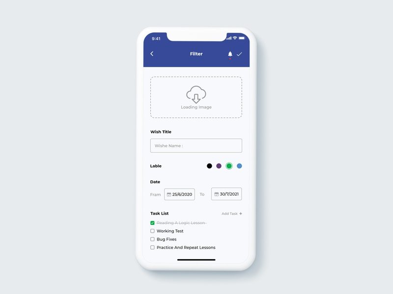 wish app app design ui