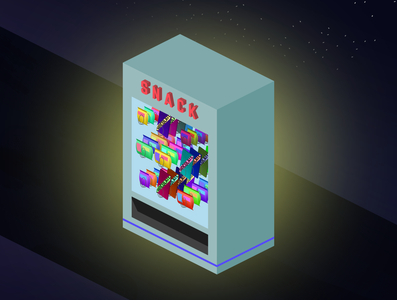 snack illustration night snack isometric vending machine