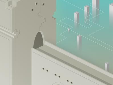 temple temple design isometric illustration