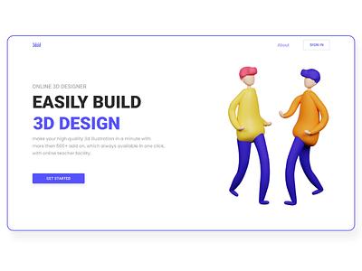 Website landing page adobexd 3d webdesign web