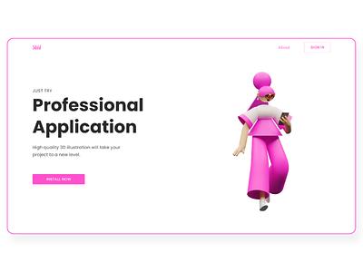 Landing page adobexd 3d webdesign