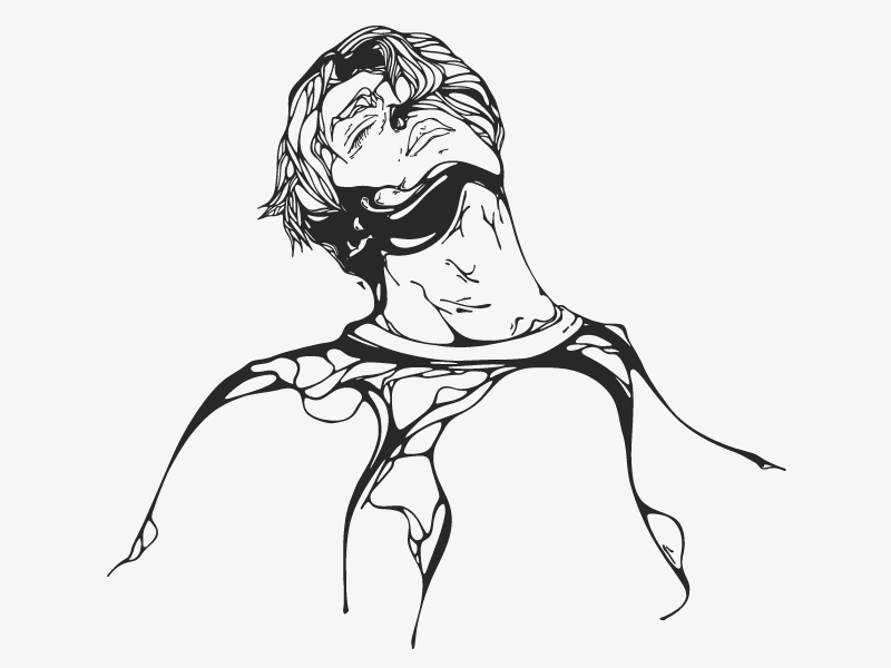 Relaxer portrait lineart character illustration