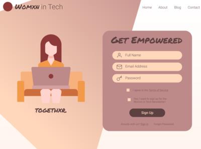 Daily UI 1 Womxn in Tech Sign Up Page dailyui figma design 30daychallenge ux figma website minimal web flat branding ui design