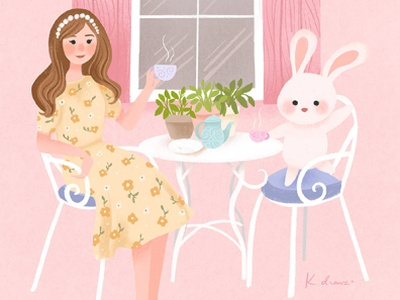 Teatime with Bunny pastel illustration girl illustration character design character
