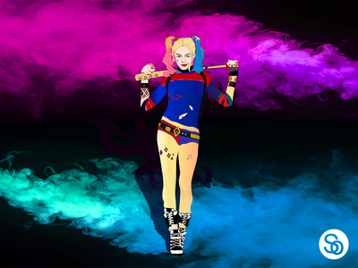 The rise of Harley Quinn after leaving with the Joker. health illustrator birds of prey colorless animation ux vector ui design illustration suicide squad dccomics joker harley quinn