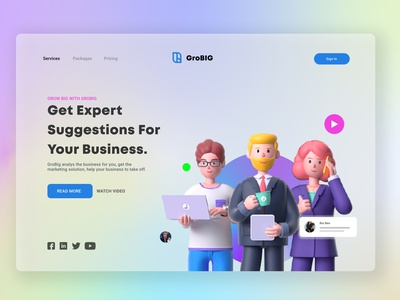GroBIG Landing Page Design illustrator graphic design website minimal illustration ux logo ui design branding