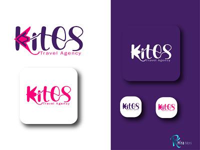 kites flat minimalist logo flat branding drawing typography nameplate logo icon art design