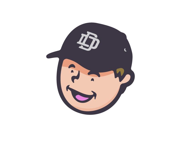 Lil' Dan smile caricature face avatar monogram dd hat