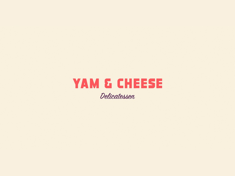 Yam & Cheese type flat app icon typography vector branding logo design