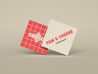 Yam & Cheese Business Cards deli sandwich cards business cards restaurant vector typography type logo icon design branding
