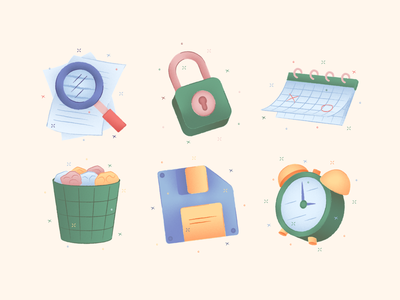 Porto Illustrations on Product Hunt alarm clock floppy trash calender lock search download free product hunt hand drawn vector colorful set illustration kapustin
