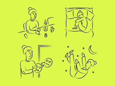 Mental Health Illustrations outline linear character mental health resources packaging design vector set illustration kapustin
