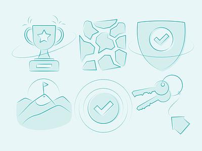 Six illustrations from Funky Elements pack ✨ done check triumph key brake trophy security safe vector app web free resources design pack set illustration kapustin