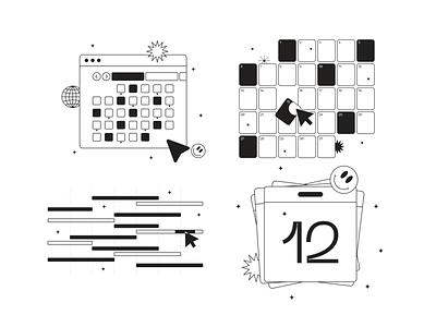Tokyo Illustrations 🇯🇵 calendar linear outline resources design vector set illustration kapustin