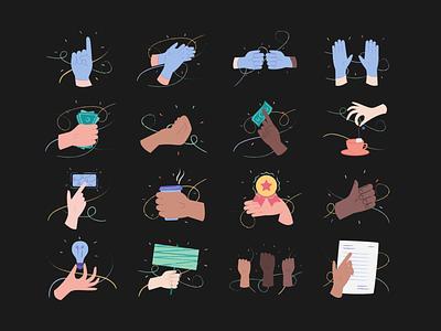 Hands Illustrations 👌🤙🤞 gloves delivery divercity skin hands pack resources design colorful vector set illustration kapustin