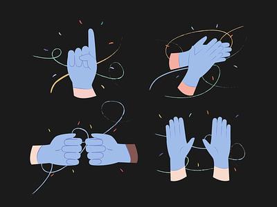 Hands Illustrations 👌🤙🤞 resources design colorful vector set illustration kapustin virus covid gloves hands