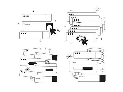 Tokyo Illustrations 🇯🇵 black  white web linear outline resources design vector set illustration kapustin push click notification