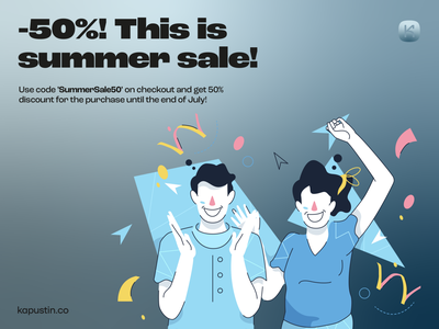 Our First Summer Sale ✨🎉 congrats summer sale discount happy pack design colorful vector set illustration kapustin