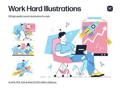 Work Hard Illustrations 🤝💻💵 success collaboration teamwork enterpreneur hard work startup characters resources design colorful vector set illustration kapustin