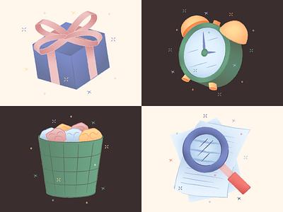 Porto Illustrations 🌅 loupe trash alarm clock present resources free texture flat design colorful vector set illustration kapustin