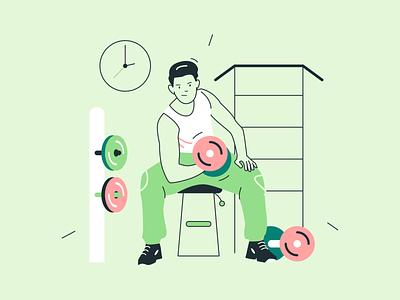 Nick Illustrations ✌️🍝💻 sport gym flat character resources design colorful vector set illustration kapustin