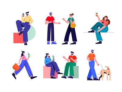Free Lifestyle Illustrations 🍕🍦🍹 free resources design colorful vector set illustration kapustin lifestyle glasses coffee dog pet walk conversation flat characters