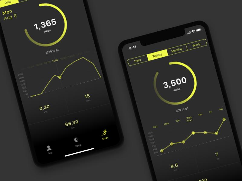 Health app concept measurement graphs steps health care iphone x ux ui counter