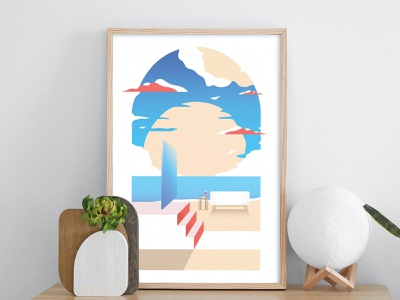 Beach Gate confinement stayhome door blue clouds sky sand illustrator illustration design sun mirror stairs wine sofa beach