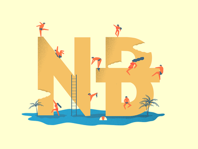 NB's typeface lettering flat web typography design logo branding vector illustration ux ui