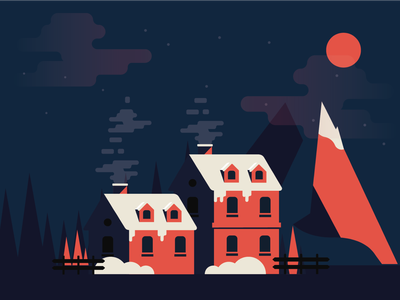 Winter Is Coming xmas winter architecture ux design ui vector flat illustration