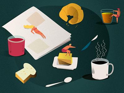 Breakfast time character design illustrator design coffee croissant breakfast illustrator illustration