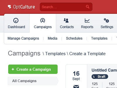 Optculture Dashboard V2 - Campaigns Index