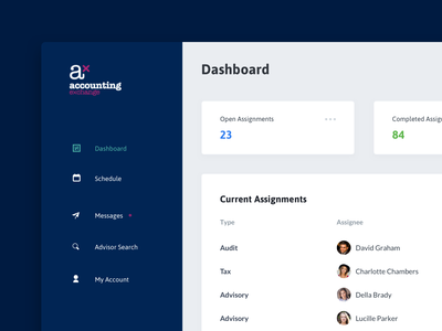 Accounting Exchange blue clean software design product design accounting dashboard ux ui