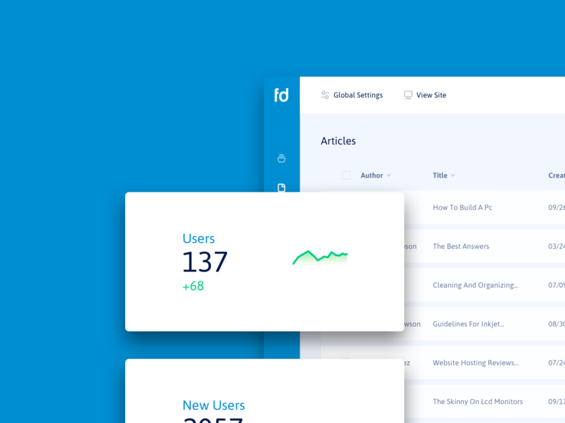 Fluid Digital CMS analytics blue clean product design software product design dashboard cms ui ux designer ui