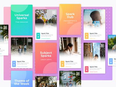 Spark-ed classroom teachers ux ui gradients cards education website