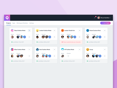 Qurate Hub marketing software product design clean dashboard ux ui