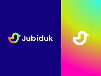 Jubiduk Logo visual design brand identity branding minimal logo gradient design birdlogo duck logo logodesigner modernlogo logomaker creative logo logo design concept logotype abstract logo logo design logo graphic design j logo