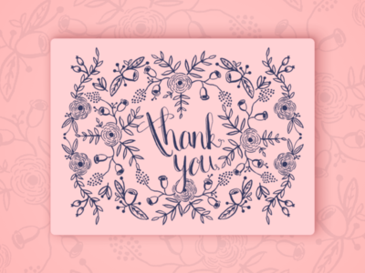 Thank You Card stationery print ornaments floral handlettering wedding