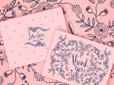Thank You Card (front & back) stationery print ornaments floral handlettering wedding