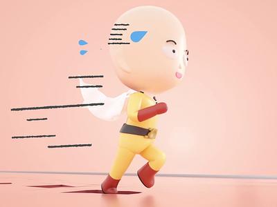 Saitama's running for supermarket sales 3d illustration 3d modeling pastel 3d design 3d graphic motion design cartoon anime 3d motion illustration character design 3d animation motion graphics 3d